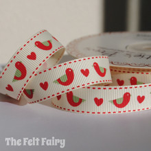 Red Bird / Heart Grosgrain Ribbon