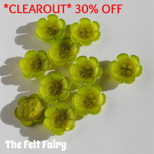 Bright Flower Button - Lime