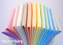 "Pastel Rainbow 6"", 9"" or 12"" Squares 13 Shades - Wool Blend Felt"