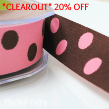 *0.7 metre* Pink and Brown Reversible Polka Dot Ribbon
