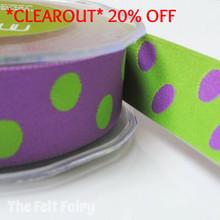 *2.55 metre* Purple and Lime Reversible Polka Dot Ribbon