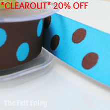 *0.8 metre* Turquoise and Brown Reversible Polka Dot Ribbon