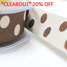 *1.6 metre* Brown and Neutral Reversible Polka Dot Ribbon