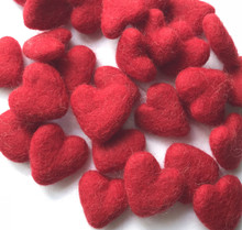 Red Wool Felted Heart