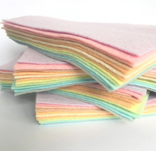 Pastel Rainbow 12 Shades - Wool Blend Felt - 4 sheet sizes