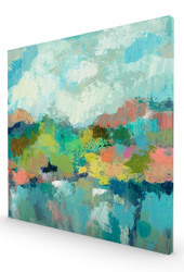 Abstract Lakeside Crop Stretched Canvas