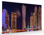 Dubai Marina Night Shot Stretched Canvas