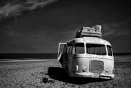 Beached Bus Print, Canvas or Stretched Canvas