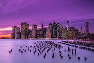 New York Violet Sunset Print, Canvas or Stretched Canvas Print