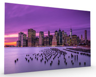 New York Violet Sunset Stretched Canvas