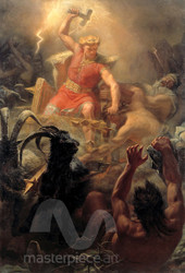 Tor's Fight with the Giants by Mårten Eskil Winge Premium Giclee Print