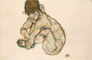 Crouching Nude Girl by Egon Schiele Premium Giclee Print