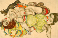 Female Lovers by Egon Schiele Premium Giclee Print