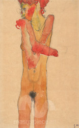 Girl Nude with Folded Arms by Egon Schiele Premium Giclee Print