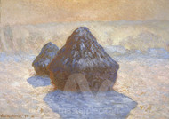 Haystacks, Snow Effect by Claude Monet Premium Giclee Print