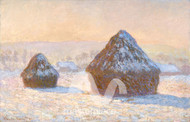 Haystacks, Snow Effect Morning by Claude Monet Premium Giclee Print