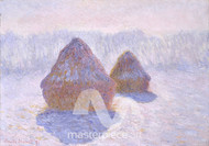 Haystacks, Effect of Snow and Sun by Claude Monet Premium Giclee Print