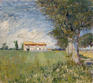 Farmhouse in a Wheat Field by Vincent van Gogh Premium Giclee
