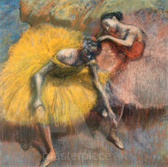 Two Dancers Yellow and Pink by Edgar Degas Premium Giclee Print