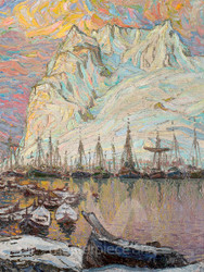 Winter Harbor with Snow-Capped Mountains by Anna Boberg Giclee