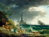 Maritime Art - A Storm on a Mediterranean Coast by Claude-Joseph Vernet