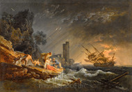 Maritime Art - A Shipwreck at  Night off the Coast by Claude-Joseph Vernet