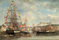 Maritime Art - Festival in the Harbor of Honfleur by Eugène Boudin