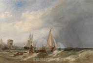 Maritime Art - A Dutch Barge and Merchantmen Running out of Rotterdam