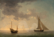 Maritime Art - A Lugger and a Smack in Light Airs by Charles Brooking