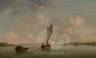 Maritime Art - A Smack Under Sail in a Light Breeze by Charles Brooking
