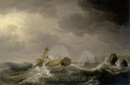 Maritime Art - Ship wrecked on a rocky coast by Charles Brooking