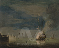 Maritime Art - A Two-Decker on Fire at Night off a Fort