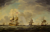 Maritime Art - An English Flagship Under Easy Sail in a Moderate Breeze