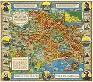 Vintage Map - Pictorial Map Melbourne 1934