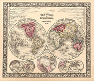 Vintage Map - The World in Hemispheres 1865 inc River Lengths