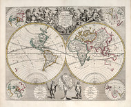 Vintage Map - New Map of the World 1721