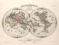 Vintage Map - Mappemonde en deux Hemispheres 1852