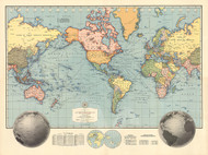 Vintage Map - Hagstrom's Map of the World 1942
