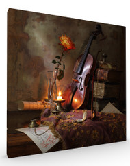 Stretched Canvas Still Life with Violin and Rose by Andrey Morozov