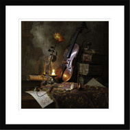 Wall Art Framed Still Life with Violin and Rose by Andrey Morozov