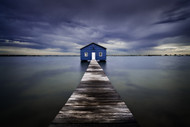 The Blue Boatshed by Leah Kennedy, Art Print