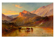 Sunset in the Scottish Highlands by Alfred de Bréanski Landscape