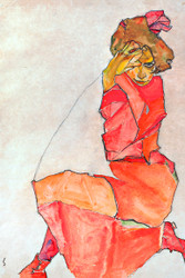 Kneeling Female in Orange Red Dress by Egon Schiele Art Print