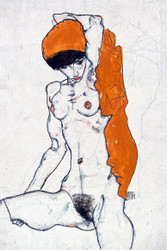 Standing Nude with Orange Drapery by Egon Schiele Art Print