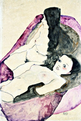 Two Reclining Nudes by Egon Schiele Art Print