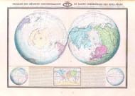 Tableau des Regions Circumpolaires Spheroidale des Deux Poles Vintage Map