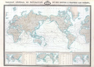 Tableau General de Navigation ou des Routes a Travers les Oceans Vintage Map