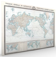 Tableau General de Navigation ou des Routes a Travers les Oceans Stretched Canvas
