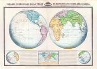 Tableau Spheroidal de la Terre ou Mappemonde en deux Hemispheres