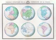 Tableau Synoptique de la Sphericite d la Terre Vintage Map